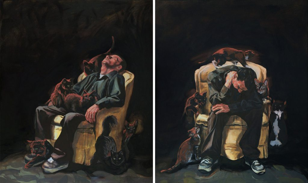 Man Sitting with Cats Diptych