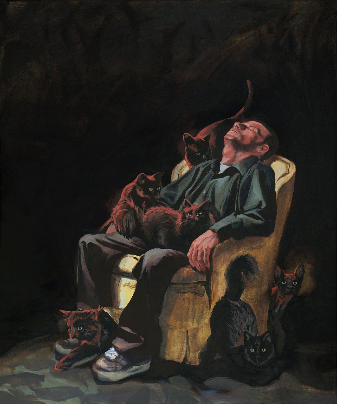 Man Sitting with Cats Diptych Left