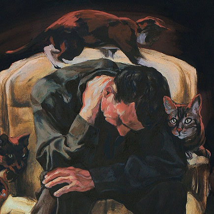 Man Sitting with Cats portfolio Image