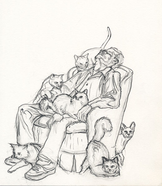 Man Sitting with Cats Drawing Left