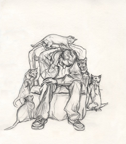 Man Sitting with Cats Drawing Right