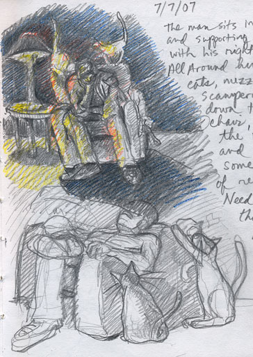 Man Sitting with Cats Journal Sketch